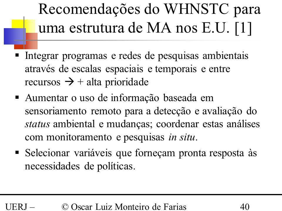Recomendações do WHNSTC para uma estrutura de MA nos E.U. [1]